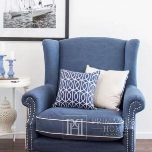 Fotel uszak tapicerowany w stylu angielskim, hamptons BRISTOL