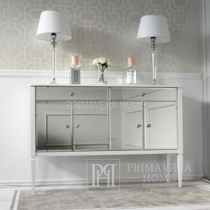 Komoda lustrzana ELEGANCE styl glamour nowojorski nowoczesny drewniana biała