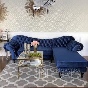 Sofa glamour narożna z szezlongiem szary czarny ROMA