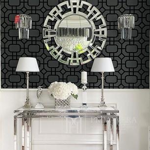 GEOMETRIC RESOURCE Geometric wallpaper in New York style American English Black Grey SILVER