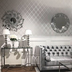 GEOMETRIC RESOURCE Geometric wallpaper in New York style American style American White Grey Blue