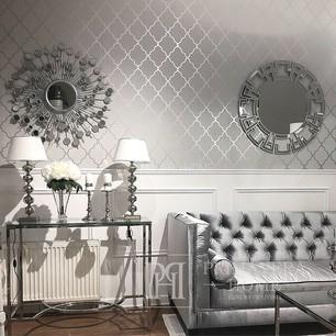 GEOMETRIC RESOURCE Tapeta geometryczna w stylu nowojorskim angielskim amerykańskim BIAŁA SZARA NIEBIESKA