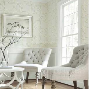 GRAPHIC RESOURCE Geometric wallpaper in New York style American style New York style American KREMA WHITE GREEN YELLOW BIRD