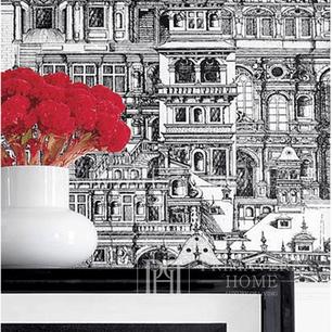 GRAPHIC RESOURCE Tapeta geometryczna w stylu nowojorskim angielskim amerykańskim BIAŁA CZARNA GRANATOWA