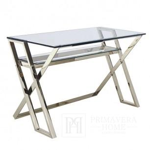 Schreibtisch-Tisch MODERN Glas Edelstahl Silber
