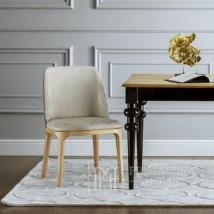 Krzesło tapicerowane nowoczesne drewniane beżowe NAPOLI