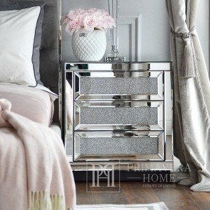 Mirror bedside table on metal legs in glamor style, New York style with broken glass PAOLA S