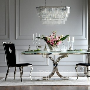 Glamour dining table, stainless steel, white RITZ top [CLONE]