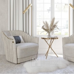Upholstered armchair, pleated in CHIC glamour style