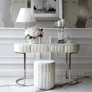 Glamor modern classic white console for the hall, living room silver white marble top BELLA SILVER