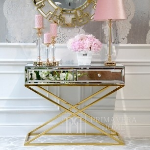 Mirror console on metal legs New York glamor modern gold CHICAGO GOLD