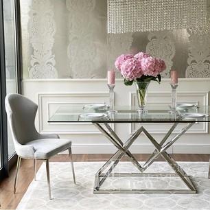 Glamour Glastisch, Stahlgestell, gehärtetes Glas, silber CONRAD SILVER