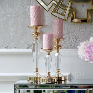 Świecznik kryształowy glamour złoty FLAVIO S