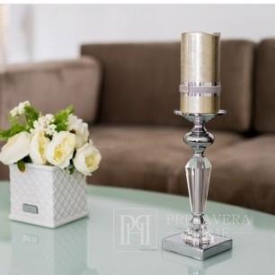 Świecznik kryształowy na postumencie w stylu glamour S FLAVIO