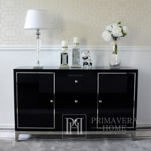 Glamour-Kommode lackiert holzern mit Stahlbeinen schwarz modern Lorenzo L Silver
