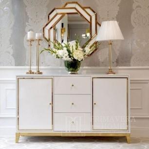 Glamour lackierte Kommode LORENZO, Holz, Weißgold