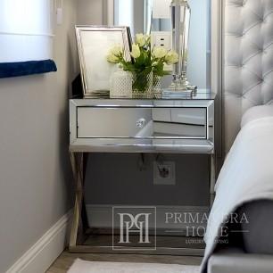 Bedside cabinet mirror CHICAGO MINI console glass steel silver white 50x40x60