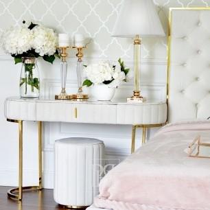 Glamour-Konsole für Flur, Wohnzimmer modern klassisch weiß Silber BELLA GOLD