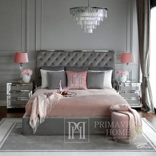 Glamour-Polsterbett gesteppt modern New York Style grau SPECTRE