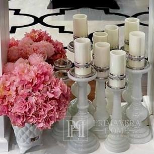 WIKA Kerzenständer Glas weiß patiniert
