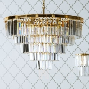 Glamour glittering crystal chandelier gold 100 cm GLAMOUR GOLD M