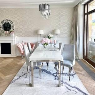 Elegancki dywan glamour do salonu nowoczesny biały imitujący kamień Carrara
