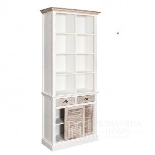 White wooden bookcase in Provencal style, hamptons, shabby chic