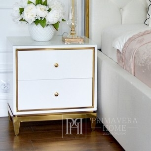 Glamour white gold lacquered bedside cabinet for bedroom Lorenzo S Gold