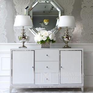 Holzkommode Glamour lackiert auf Stahlbeinen Lorenzo L Silber OUTLET