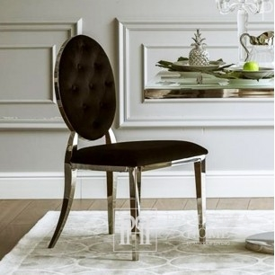 Glamour chair, upholstered quilted steel, for dining room black velour