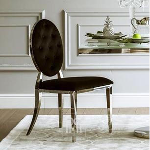 Glamour gepolsterter, gesteppter Stahl-Esszimmerstuhl schwarz velour MEDALION OUTLET