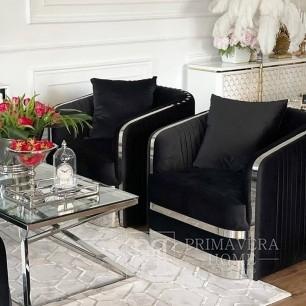 Moderner Glamour-Sessel MADONNA für das Wohnzimmer, Esszimmer schwarz Silber