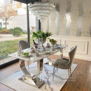 Stół glamour do jadalni srebrny stalowy biały blat marmurowy nowoczesny VOGUE