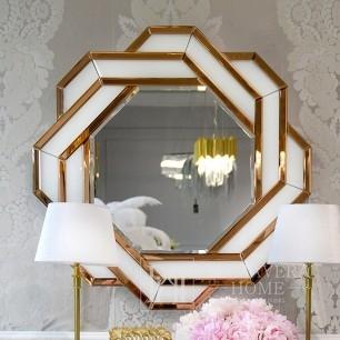 Abgerundeter geometrischer Spiegel in einem dekorativen Goldrahmen DUNE GOLD