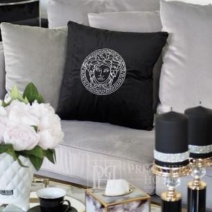 Dekoratives schwarzes Samtkissen mit logo Medusa
