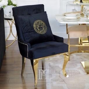 Decorative black velvet pillow with gold logo Medusa