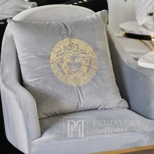 Decorative gray velvet pillow with gold logo Medusa