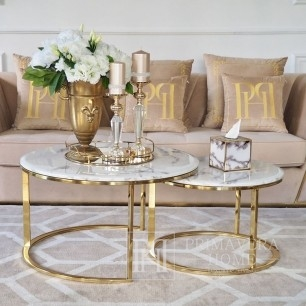 Glamour coffee table, modern gold with white stone table top MARCO GOLD