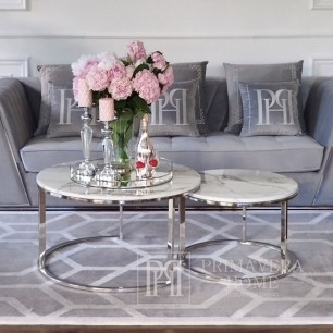 Coffee table modern silver glamour style with white stone top MARCO SILVER