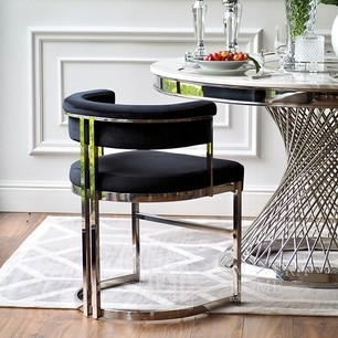 MARCO silver glamor chair for the living room and black dining room