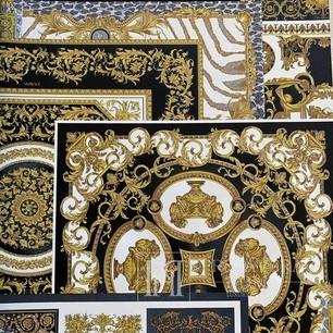 Luxuriöse geometrische Tapete Versace Glamour squares braun und bold
