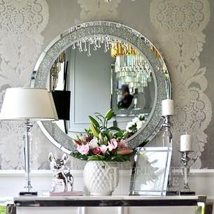Diamantförmiger runder Spiegel im Galmour-Stil PAOLA SILVER