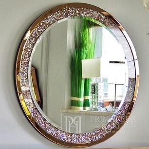 Lustro okrągłe PAOLA GOLD diamentowe w stylu galmour 90cm złote
