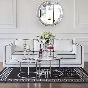 Glamour Sofa BIANKA mit Kissen, weiß und schwarz