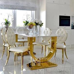 Esszimmer Glamour Tisch Gold Stahl weiß VOGUE Platte