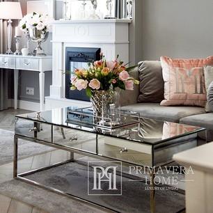 Stolik kawowy lustrzany CHICAGO na metalowych nogach nowojorski glamour 120x60x45 OUTLET