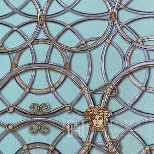 Tapete Versace IV Glamour-Stil barocke goldene Kreise auf türkisfarbenem Hintergrund