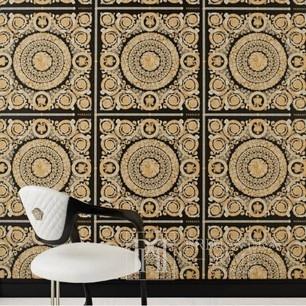 Tapete VERSACE IV Heritage Gold Ornament auf schwarzem Hintergrund