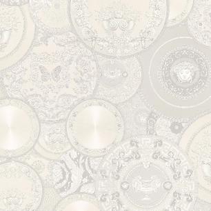 Tapete Versace Mer Glamour creme-weiß platten metallic