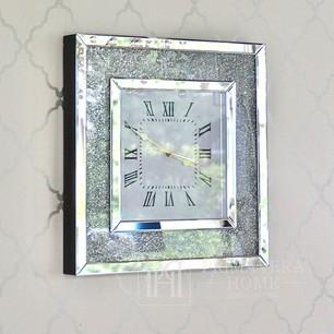 Diamant-Wanduhr PAOLA SILVER mit klarem Spiegel verziert mit quadratischem Silber 50x50